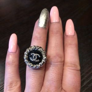 Chanel Jewelry - Chanel Silver and Navy ring size 52